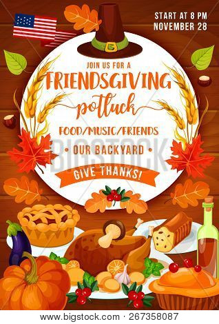 Thanksgiving Holiday Dinner And Friendsgiving Potluck Party. Vector Turkey, Autumn Pumpkin Vegetable