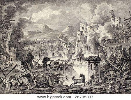Altes Bild von Messina Erdbeben Zerstörung. erstellt von coiny, Desprez und de Ghendt, veröffentlicht am