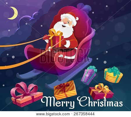 Santa Claus On Sleigh With Bag Or Sack Full Of Christmas Presents, Delivering Xmas Gifts. Wrapped Fe