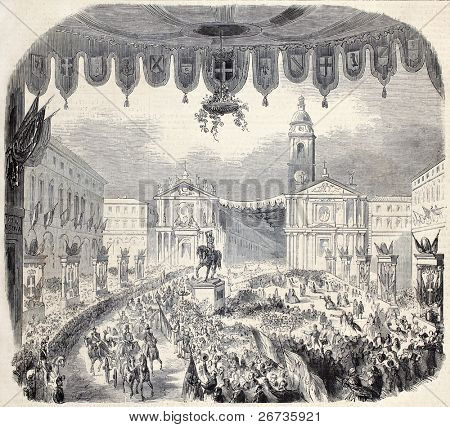 Old illustration of Emilia's Governor Farini arrival in Turin for annexation to Italy. From drawing of Janet-Lange, after sketch of Teja, published on L'Illustration, Journal Universel, Paris, 1860