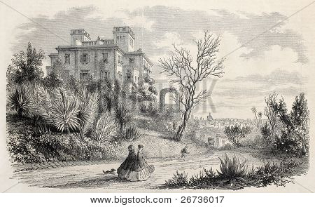 Villa Massigny in Nice, France, residence of queen of Denmark in 1860. Original, from drawing of Freemann, after sketch of Van Elven, was published on L'Illustration, Journal Universel, Paris, 1860