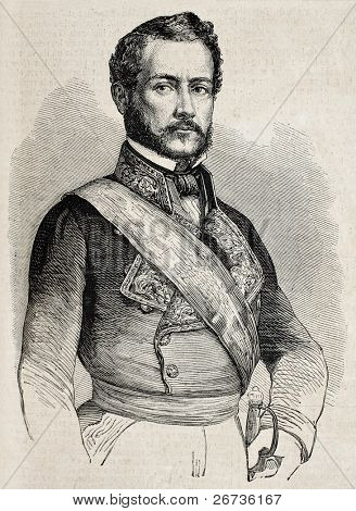 Old engraved portrait of Spanish General Juan Prim, Comte de Reus. Original, from drawing of Marc, was published on L'Illustration Journal Universel, Paris, 1860