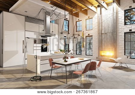 modern luxury kitchen interior. 3d design concept rendering