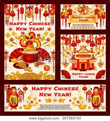 Chinese New Year Greeting Cards Of Golden Symbols And Red Decorations On Pattern Background. Vector
