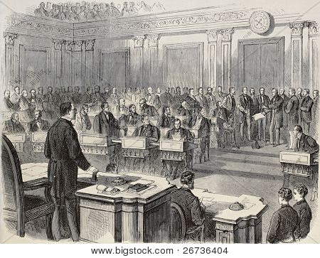 Old illustration of reading impeachment act of President Johnson in the United States Senate. Original, created by Pauquet and Cosson-Smeeton, publ. on L'Illustration, Journal Universel, Paris, 1868 poster