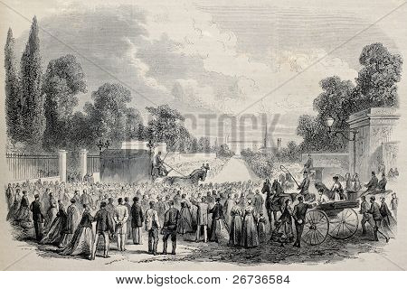 Old illustration of Lord Brougham funeral in Cannes, France. Original, created by Janet-Lange and Cosson-Smeeton, was published on L'Illustration, Journal Universel, Paris, 1868