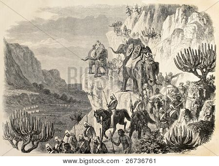 Old illustration of an British artillery convoy marching between Magdala and Antalo during Abyssinian expedition. Created by Janet-Lange, published on L'Illustration, Journal Universel, Paris, 1868
