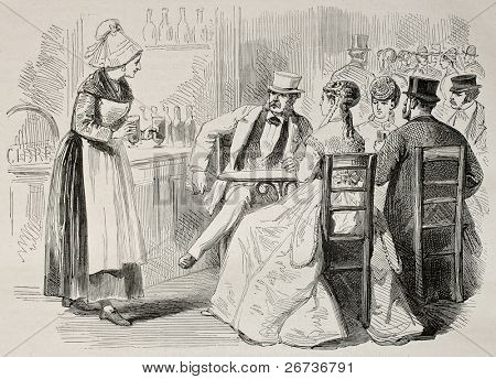 Antique illustration of a waitress attending to customers in a bar. Created by Pauquet and Dutheil, published on L'Illustration, Journal Universel, Paris, 1868