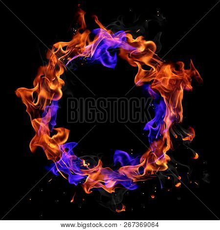 Fire ring isolated on black background