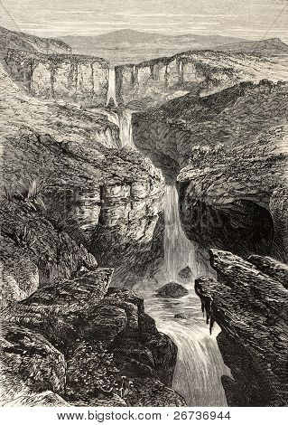 Old illustration of Tacazze falls,  Abyssinia. Created by Loudon, published on L'Illustration, Journal Universel, Paris, 1868