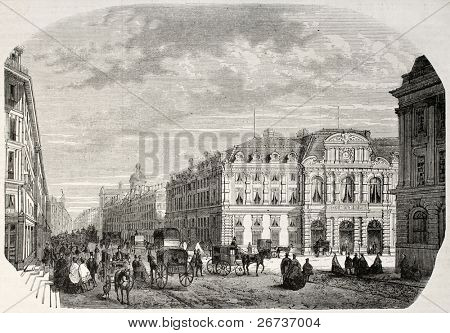 Old illustration of IV arrondissement Civic Centre in Paris. Created by Fichot and Cosson-Smeeton, published on L'Illustration, Journal Universel, Paris, 1868