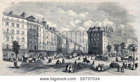 Antique illustration of Rue de la Paix, in Paris, before Rue de l'Imperatrice opening. Created by Provost, published on L'Illustration, Journal Universel, Paris, 1868
