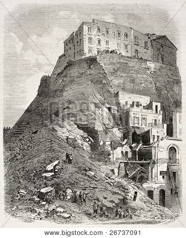 Catastrophic effects of Mount Echia landslide, upon Santa Lucia, surrounding Naples, Italy. Created by Provost, after photo of Bernoud, published on L'Illustration, Journal Universel, Paris, 1868