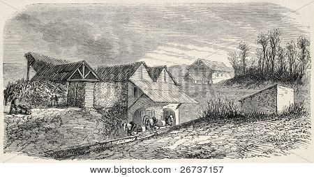 Old illustration of Buttes Chaumont quarries, known as Carrieres d'Amerique, 19th arrondissement, Paris. Created by Gaildrau, published on L'Illustration, Journal Universel, Paris, 1868