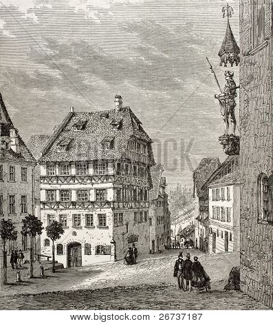 Old illustration of Albrecht Durer house and Martin Koetzel statue in Nuremberg, Germany. Created by Th?rond and Terington, published on Le Tour du Monde, Paris, 1864 poster