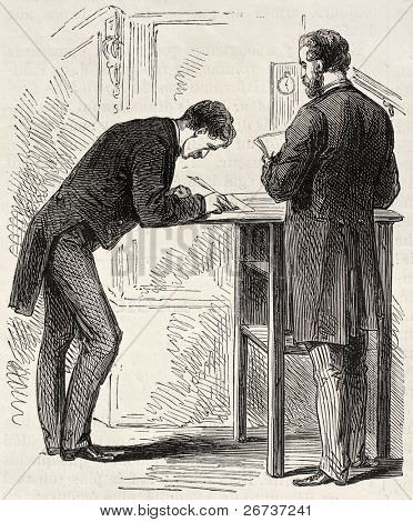 Old illustration of stenographers in French parliament, Paris. Created by Pauquet, published on L'Illustration, Journal Universel, Paris, 1868 poster
