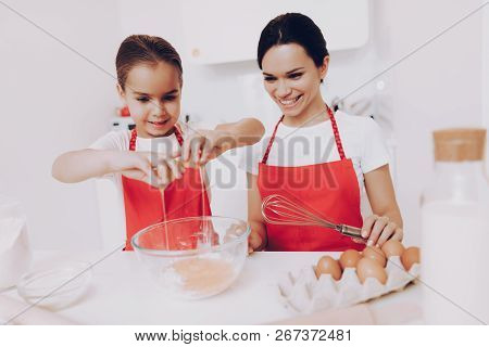 Mother Preparation Egg For Sweet Fod. Smile With Beautiful Daughter. Girl Happy With Mother When Mot