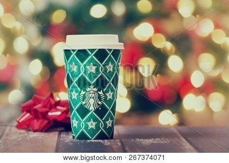 Dallas, Tx - November 5, 2018: Starbucks Popular Holiday Beverage, Served In The New 2018 Designed H