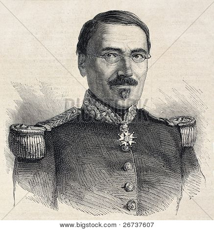 Old engraved portrait of general Jean Victor Poncelet, French engineer, mathematician and military. Created by Chenu, published on L'Illustration, Journal Universel, Paris, 1868