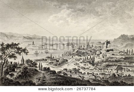 View of strait of Messina between Sicily and Calabria, Italy. By Desprez and Dambrun, published on Voyage Pittoresque de Naples et de Sicilie,  J. C. R. de Saint Non, Impr. de Clousier, Paris, 1786 poster
