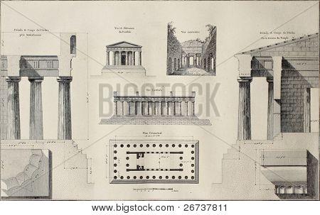 Geometric plan of Temple of Concordia, Agrigento, Sicily. By Renard and Berthault, published on Voyage Pittoresque de Naples et de Sicilie, by J. C. R. de Saint Non, Impr. de Clousier, Paris, 1786 poster