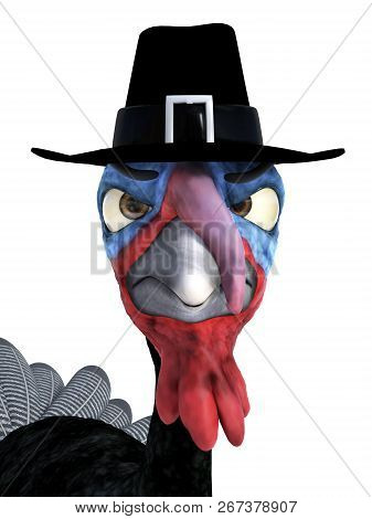 3d Rendering Of A Silly Cartoon Turkey Wearing Pilgrim Hat And Looking Very Angry. White Background.