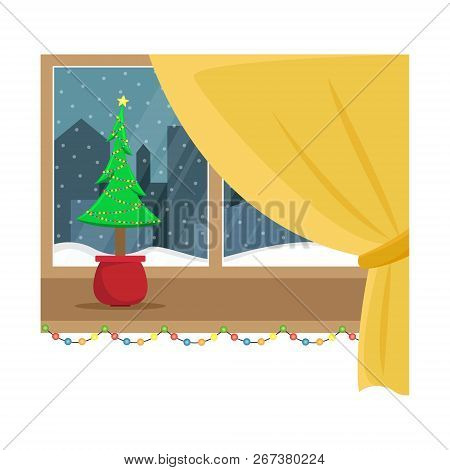 Window Overlooking The Snow In The Night City. Christmas Window With Garland. Flat Cartoon Illustrat