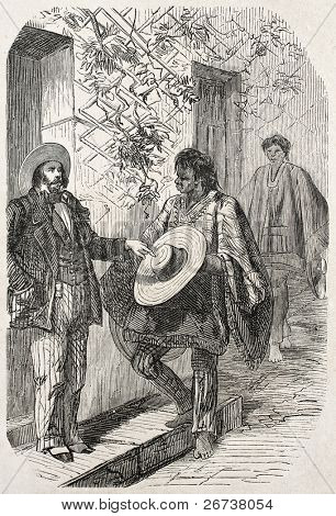 Old illustration of Panama hat Moyobamba native seller. Created by Yan'd,  published on L'Illustration Journal Universel, Paris, 1857