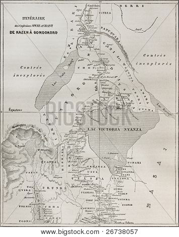 Old map of explorers Speke and Grant itinerary from Kazeh (nowadays Tabora, Tanzania) to Gondokoro (southern Sudan). Created by Erhard and Bonaparte, published on Le Tour du Monde, Paris, 1864