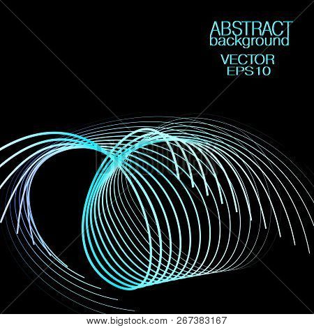 Abstract Neon Springy Wave Pattern. Black Background. Vector Shiny Spiral Subtle Blue, Cyan Lines. T