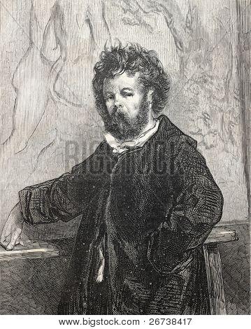 Old engraved self portrait of Paul Gavarni, French, illustrator and cartoonist. Published on L'Illustration Journal Universel, Paris, 1857