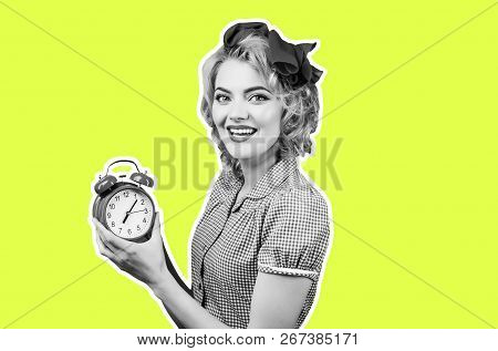 Smiling Pin-up Woman Holding Clock. Happy Pin Up Woman In Red Dress Holds Red Clock. Retro Style. Pi