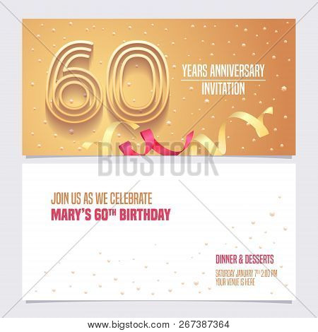60 Years Anniversary Invitation Vector Illustration. Design Element With Golden Abstract Background