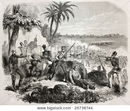 Old illustration of British soldiers defending against insurgents near Delhi. Created by Janet-Lange, published on L'Illustration Journal Universel, Paris, 1857