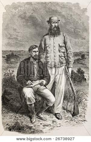 Old engraved portrait of Captain Grant and Captain Speke, famous explorers. Created by Bayard, published on Le Tour du Monde, Paris, 1864