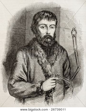 Old engraved portrait of Ymelyan Pugachev, the leader of Cossack insurrection, chained. Crerated by Cheoffroy, published on Magasin Pittoresque, Paris, 1850