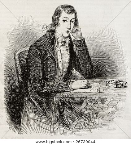Old engraved portrait of Alexander Wilson, poet, naturalist, ornithologist. Created by Paquet after American engraving of unidentified author. Published on Magasin Pittoresque, Paris, 1850