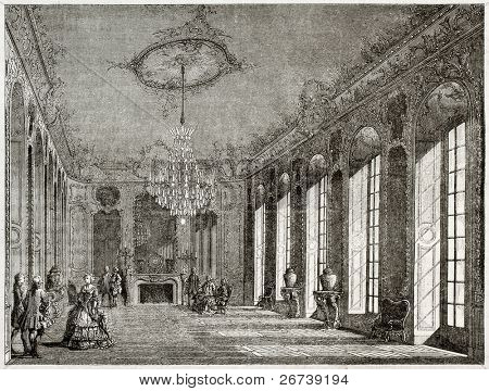 Old illustration of Hotel de Villars interior, Paris. Created by Davioud, published on Magasin Pittoresque, Paris, 1850
