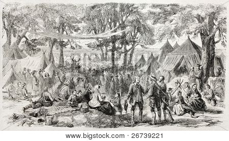 Old illustration of a Methodist meeting near New York. Created by Provost, published on L'Illustration Journal Universel, Paris, 1857