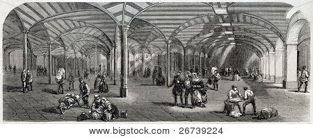 Old illustration of underground service area of Paris covered marketplace. Created by Provost, published on L'Illustration Journal Universel, Paris, 1857