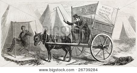 Old illustration of itinerant officers barber in Chalons camp. Created by Girin, published on L'Illustration Journal Universel, Paris, 1857