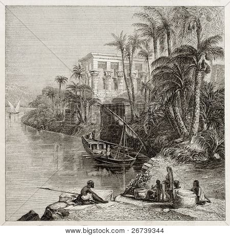 Old illustration of Trajan kiosk, hypaethral temple, today in Agilkia Nile island, transported from Philae island., Egypt. Created by Bartlett, published on Magasin Pittoresque, Paris, 1850