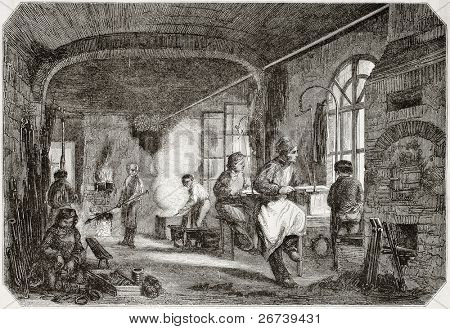 Old illustration of tempering and bronzing workshop in antique needle factory. By unidentified author, published on Magasin Pittoresque, Paris, 1850