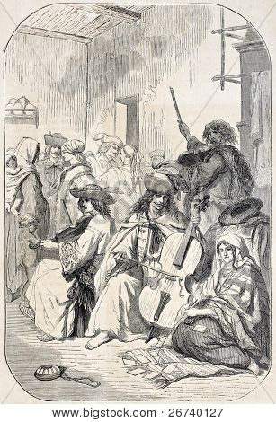 Old illustration depicting Tzigane musicians playing string instruments. Created by Valerio, published on L'Illustration, Journal Universel, Paris, 1857