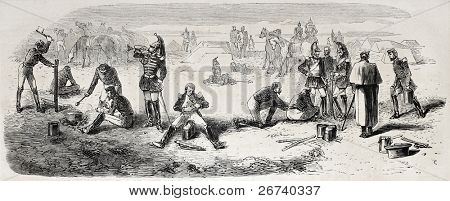 Old illustration of Cuirassiers bivouac in Chalons camp. Created by Worms, published on L'Illustration, Journal Universel, Paris, 1857 poster