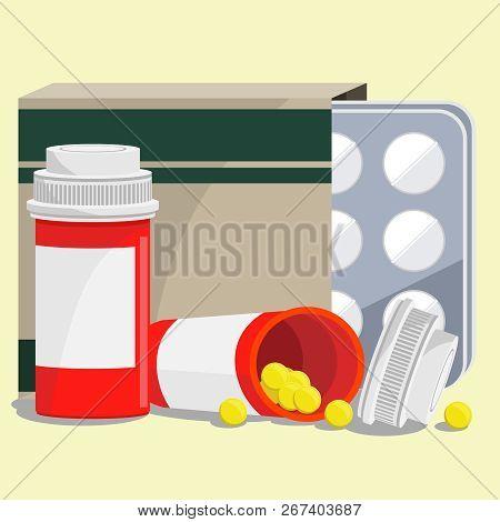 Vector Set Of Medicines: Pills And Pills.