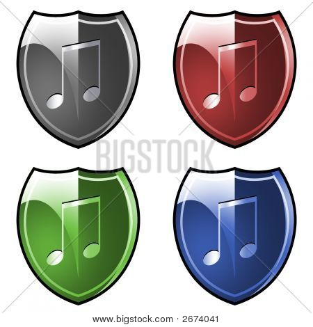 Shield. Armor. Musical Note.