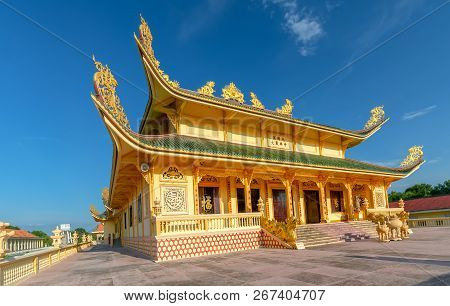 Vung Tau, Vietnam - September 30th, 2018: Architecture Presbytery Temple Dai Tong Lam Afternoon Suns