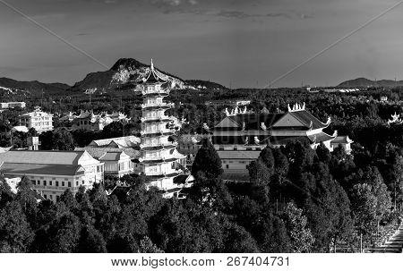 Vung Tau, Vietnam - September 30th, 2018: The Architectural Stupa At Dai Tong Lam Pagoda Attracts To