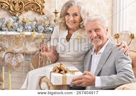 Portrait Of Happy Old Couple With Christmas Present